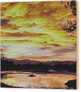 Sunset Over A Country Pond Wood Print