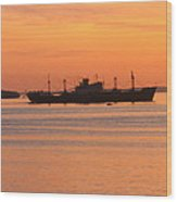 Sunset Over A Ship Wood Print