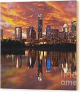 Sunset Over Austin Wood Print