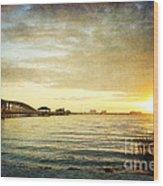 Sunset Over Biloxi Bay Wood Print