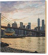 Sunset Over Brooklyn Bridge Wood Print