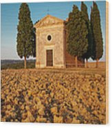 Sunset Over Cappella Di Vitaleta Wood Print