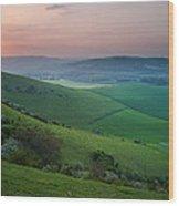 Sunset Over English Countryside Escarpment Landscape Wood Print