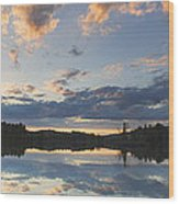 Sunset Over Flying Pond In Vienna Maine Wood Print by Keith Webber Jr