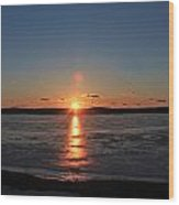 Sunset Over Frozen Wachusett Reservoir 2 Wood Print