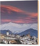 Sunset Over Granada And The Alhambra Castle Wood Print