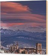 Sunset Over Granada And The Cathedral Wood Print