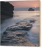 Sunset Over Gull Rock From Trebarwith Wood Print