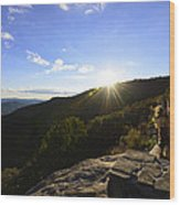 Sunset Over Halloween Decorations On Black Rock Mountain Wood Print