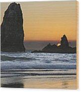 Sunset Over Haystack Needles Rocks Wood Print
