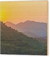 Sunset Over Hills Wood Print