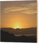 Sunset Over Island In Hawaii Wood Print