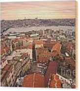 Sunset Over Istanbul Wood Print