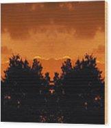 Sunset Over Jackson Michigan Mirror Image Wood Print