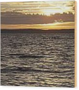 Sunset Over Lake Cazaux Wood Print