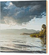 Sunset Over Lake Maggiore In Italy Wood Print