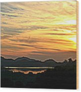 Sunset Over Lake Wohlford Wood Print