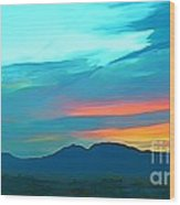 Sunset Over Las Vegas Hills Wood Print