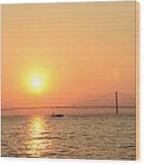 sunset over Mackinac Bridge Wood Print by Brett Geyer