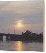 Sunset Over Meadowbrook Bridge Wood Print