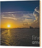 Sunset Over Miami From Out At Sea Wood Print