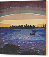 Sunset Over Miami Wood Print