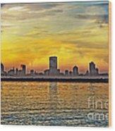 Sunset Over Milwaukee Wood Print