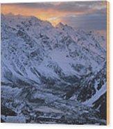 Sunset Over Mueller Glacier Lake Wood Print