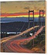 Sunset Over Narrows Bridges Wood Print