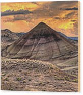 Sunset Over Painted Hills In Oregon Wood Print