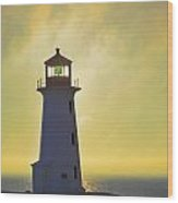 Sunset Over Peggys Cove Lighthouse Wood Print