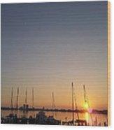 Sunset Over Pensacola Bay Wood Print