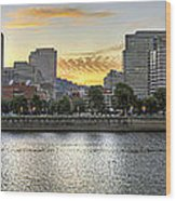 Sunset Over Portland Downtown Skyline Wood Print