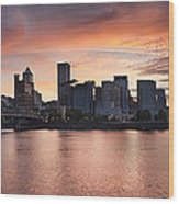 Sunset Over Portland Oregon Waterfront Panorama Wood Print