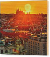 Sunset Over Prague Wood Print