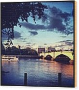 Sunset Over Putney Bridge Wood Print by Maeve O Connell