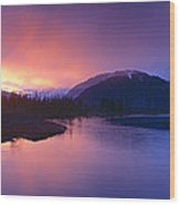 Sunset Over Resurrection River And Exit Wood Print