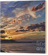 Sunset Over Rethymno Crete Wood Print