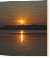 Sunset Over Rice Lake Wood Print by James Hammen