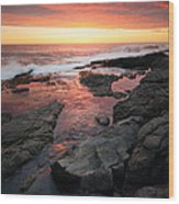 Sunset Over Rocky Coastline Wood Print by Johan Swanepoel
