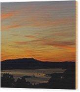 Sunset Over San Francisco Bay And Mount Tamalpais Wood Print