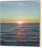 Sunset Over Sea Wood Print