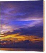 Sunset Over Sea Wood Print