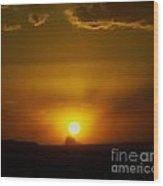 Sunset Over Shiprock Wood Print