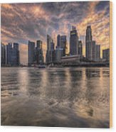 Sunset Over Singapore Skyline Wood Print