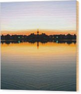 Sunset Over Still Waters Mirror Image Wood Print