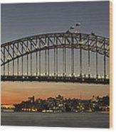 Sunset Over Sydney Harbour Bridge Wood Print