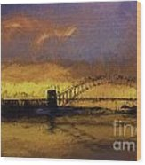 Sunset Over Sydney Harbour A Turneresque View Wood Print