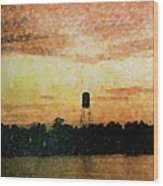 Sunset Over Tarpon Springs Wood Print