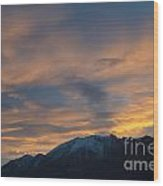 Sunset Over The Alps Wood Print
